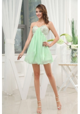Apple Green Prom Dress Mini-length Sequins For Club