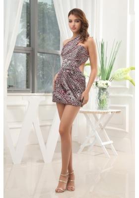 Leopard Short Prom Dress Backless One Shoulder For Club