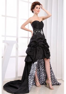 Black Pick-ups Zebra High-low Prom Dress Beaded