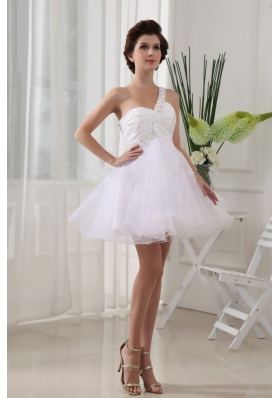 One Shoulder White Prom Dress Pleats Mini-length