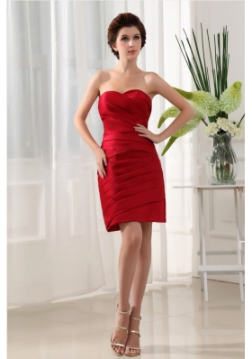 Wine Red Prom Dress Pleats Mini-length For Simple