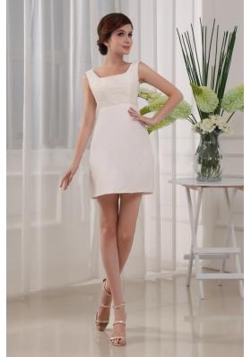 White Square Beading Prom Dress Mini-length