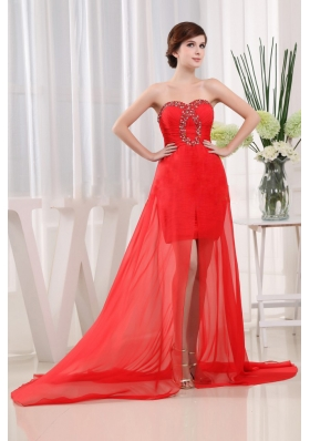 Sweet Red Prom Dress Brush Beading Ruched Hi-lo