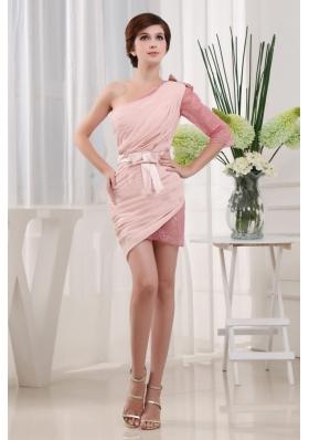 Baby Pink Prom Nightclub Dress One Shoulder 3 4 Sleeves