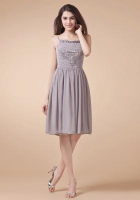 Grey Prom Dress Spaghetti Straps Beading Knee-length