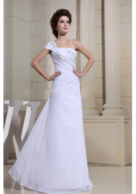 White Beaded One Shoulder Prom Dress Single Short Sleeve