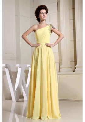 Simple Yellow Prom Dress Beaded One Shoulder