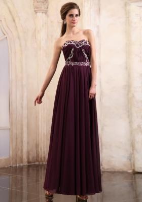 Dark Purple Prom Dress Beaded Ankle-length Chiffon