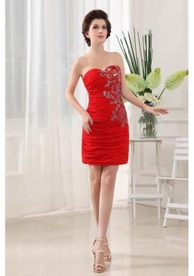 Appliques Red Prom Dress Column Mini-length