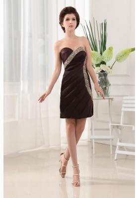 Stylish Beading Column Brown Prom Dress Mini-length