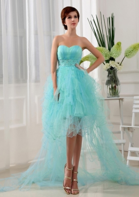 High-lo Beading Organza Prom Dress Blue Column