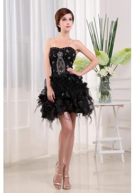A-Line Beading Black Mini-length Graduation Dress