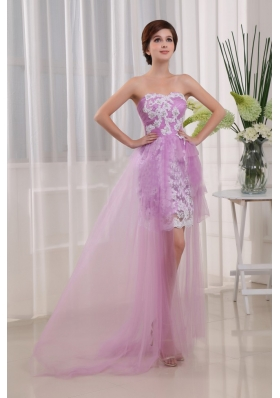 Lavender Appliques Column Sweep Prom Dress Tulle
