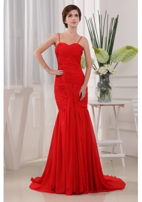 Mermaid Straps Chiffon Brush Pleats Prom Dress Red