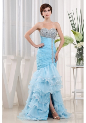 Baby Blue Beaded Ruch Prom Dress Ruffled Layers