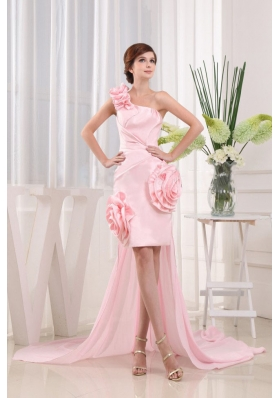 High-lo One Shoulder Baby Pink Prom Dress Hand Made