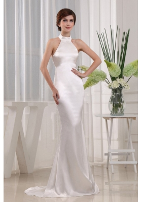 Simple Mermaid Prom Celebrity Dress White Halter