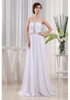 2013 Prom Dress Beading Ruch Empire White Halter