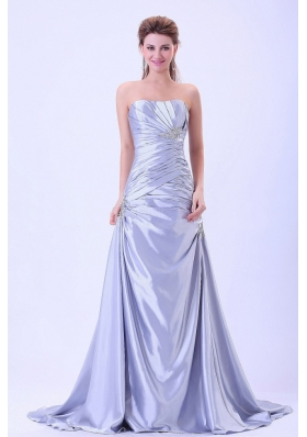 2013 Prom Dress Silver Ruching Appliques Brush