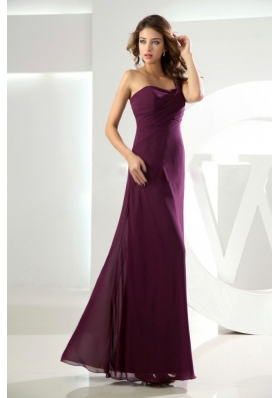 Slit Beading Burgundy Bridesmaid Dresses One Shoulder