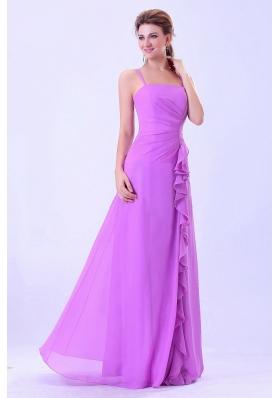 Lavender Bridesmaid Dresses Spaghetti Straps Ruffles