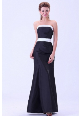 Simple Black Bridesmaid Dresses Column White Belt