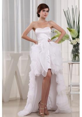 Cut Hi-low Ruffles 2013 Wedding Dress Discounted