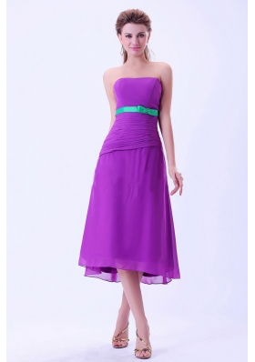 Purple Green Belt Bridemaid Dress Column Tea-length