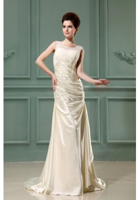 Scoop Champagne Wedding Dress For Bridal Column Brush
