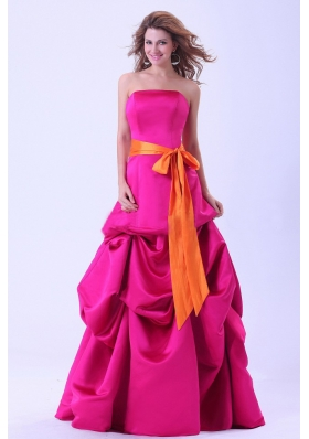 Hot Pink Prom Dress Orange Sash Pick-ups A-line