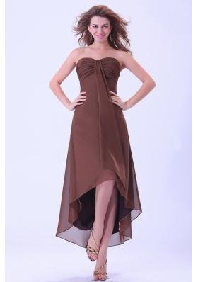 Hi-low Customize Prom Homecoming Dress Brown Chiffon