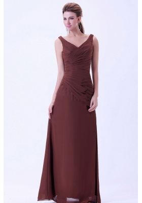V-neck Chiffon Brown Mother Dresses Under 150