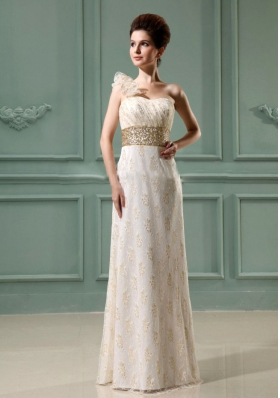 One Shoulder Beading Wedding Dress Champagne