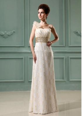 One Shoulder Beading Wedding Dress Champagne