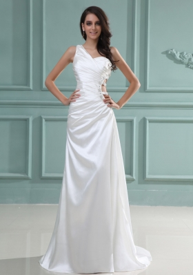 One Shoulder Bridal Dress Brush Beaded Pleats