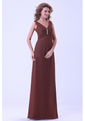 Simple Brown Mother Dress V-neck Empire Chiffon
