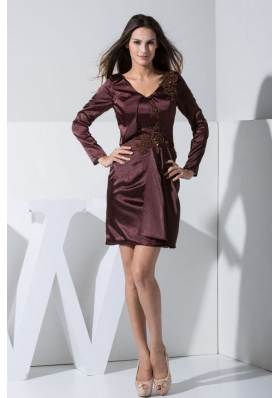 Burgundy Short V-neck 2013 Mother Dresses Long Sleeves
