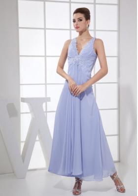 Lilac Chiffon Prom Dress Appliques V-neck
