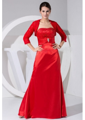 Beading and Embroidery Decorate Red Mother Bride Dress