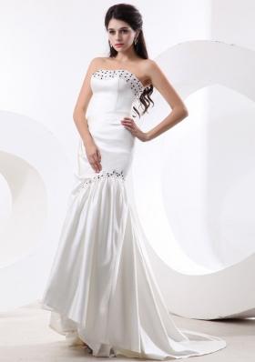 Mermaid Wedding Dress for Bridal Beading Brush