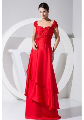 Cap Sleeves Red Tiers Brush Train Prom Dress