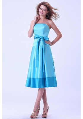 Aqua Bridemaid Dress With Strapless Sash Tea-length