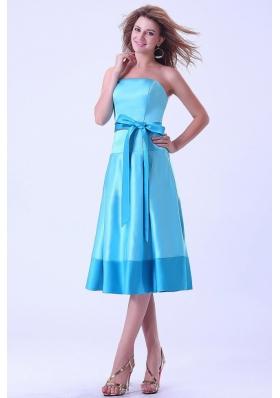 Aqua Bridemaid Dress With Strapless Sash Tea-length