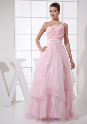 One Shoulder Ruffles Beading Long Prom Dress