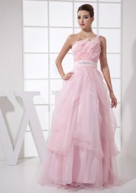 One Shoulder Ruffles Beading Long Prom Dress