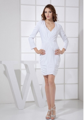 V-neck 3/4 Sleeves Column Mini Mother Bride Dress