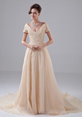 Off Shoulder A-Line Court Train Church Wedding Dress