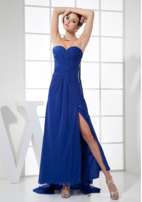 High Slit Watteau Train Blue Ankle Length Prom Dress