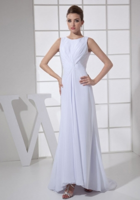 Bateau White Mother Bride Dress Brush High Low