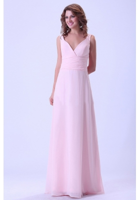 Baby Pink Two Straps Long V-neck Bridemaid Dress